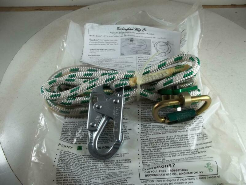 8 ft BUCKINGHAM BUCK-A-JUSTER utility climbing safety secondary lanyard rope