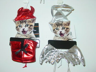 Cat Angel Devil outfits shiny silver red wings halo-O/S One Size-NEW - Devil Outfits