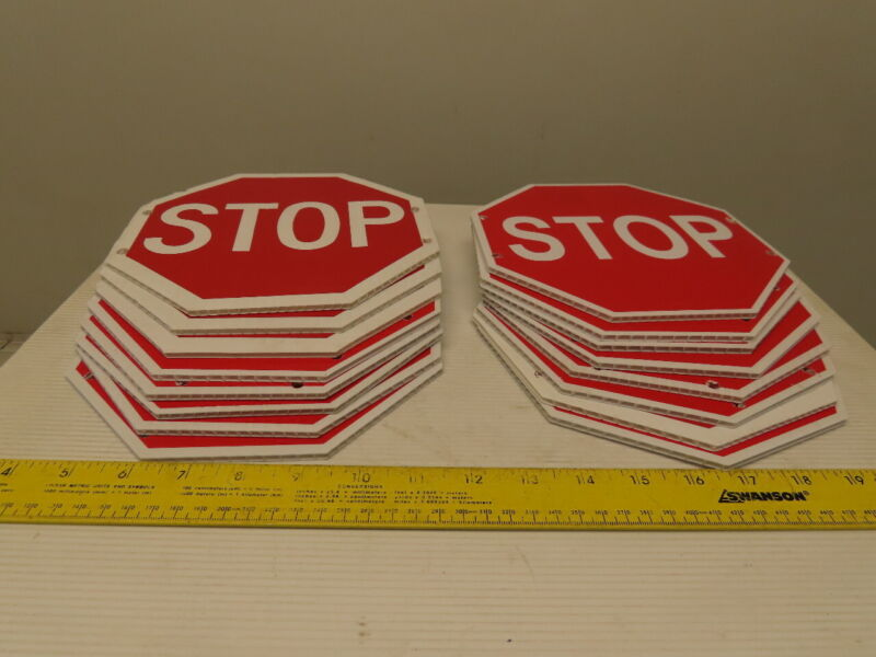 "8"" Corrugated Plastic STOP Sign Single Sided Lot Of 16"