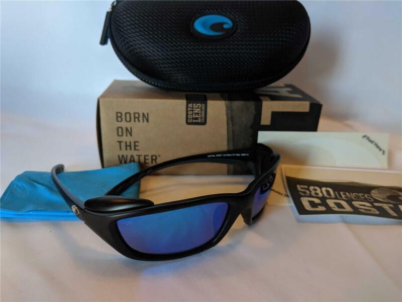 New Costa del Mar Man O War Polarized Sunglasses Black/Blue 580G Glass Rare