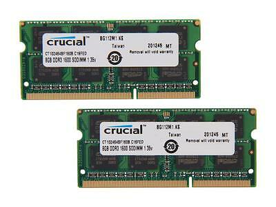 Crucial 16GB 2x8GB SO-DIMM Laptop Notebook RAM DDR3 PC3-12800 CT2KIT102464BF160B