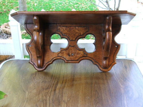 Rare Antique Victorian Gothic Burled Walnut, Decorative Wall Shelf, Clock Shelf