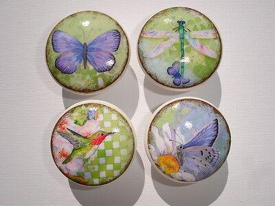 Set of 8 Vintage Butterfly Dragonfly Hummingbird Dresser Drawer -