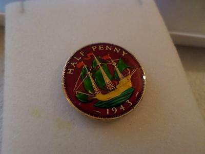 VINTAGE ENAMELLED HALF PENNY COIN 1943. LUCKY CHARM OR GREAT BIRTHDAY PRESENT
