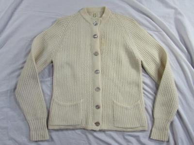 Vtg 50s Womens Wool Cardigan Sweater Made in Germany ? Knit Nice Design!