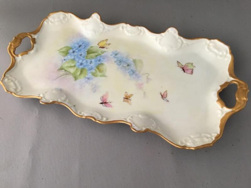 VTG WEST GERMANY KAISER HAND PAINTED PORCELAIN BUTTERFLY & FLOWER w GOLD TRAY