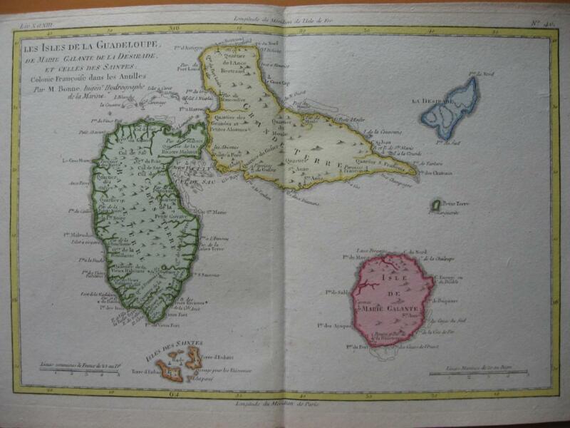 1780 - BONNE - Map GUADELOUPE  SAINTES  MARIE GALANTE
