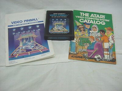 * Video Pinball * Atari 2600 Game Complete w/ Manual & Game Catalog FREE SHIP