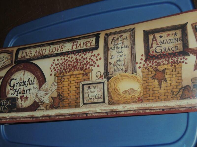 "INSPIRATIONAL SIGNS WALLPAPER BORDER PHRASES OF FAITH LOVE JOY JESUS SHELF 9"""