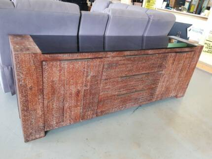 REDUCED! Timber + glass top rustic 2210mm storage buffet unit