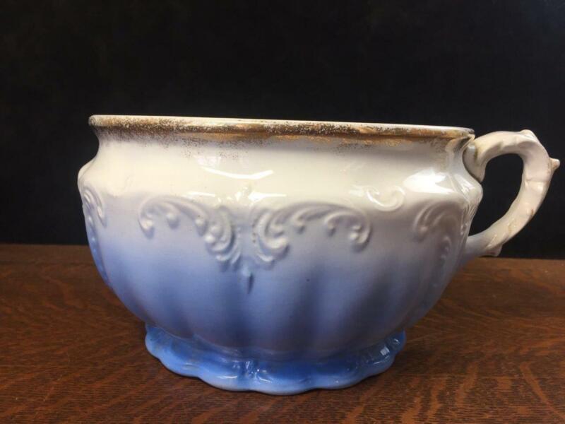 Antique C.P. MARQUETTE CO. Porcelain Iron stone Chamber Pot Handle Commode Bowl