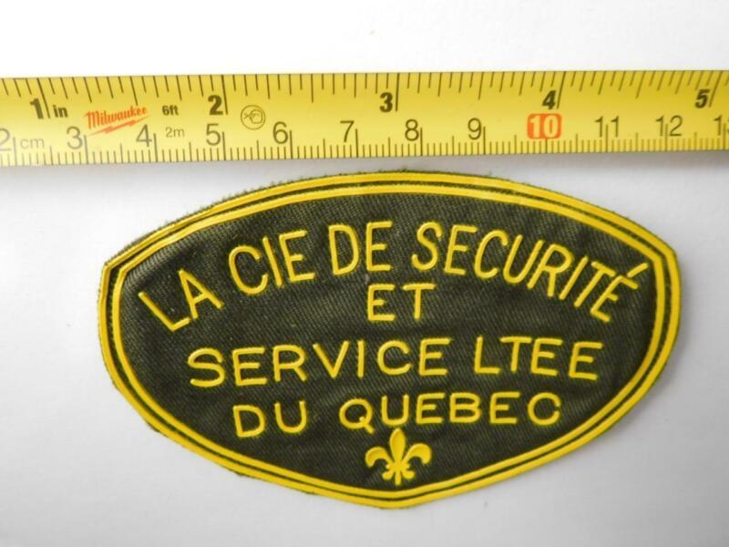 QUEBEC CIE DE SECURTE SECURITY GUARD VINTAGE PATCH BADGE POLICE COLLECTOR