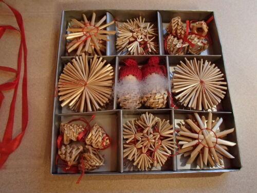 Scandinavian Swedish Norwegian Danish Straw Christmas Ornaments 36 pc box
