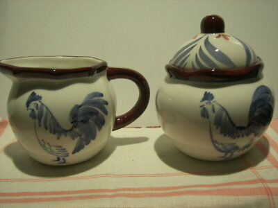 "Set ~ Nantucket Home ~ Hand Painted CREAMER & SUGAR BOWL~ ""ROOSTER"" ~ Mint"