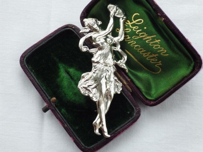 Vintage Art Nouveau Lady Brooch Pin Silver
