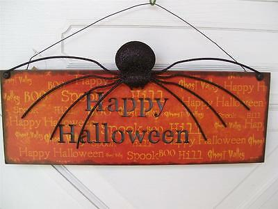 NWT  HAPPY HALLOWEEN  Scary BIG Black SPIDER  LED light up Wall Sign - Big Black Halloween Spiders