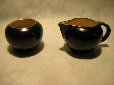 Vintage Villeroy & Boch Creamer & Sugar Set Deco Black Gold Accents Luxembourg