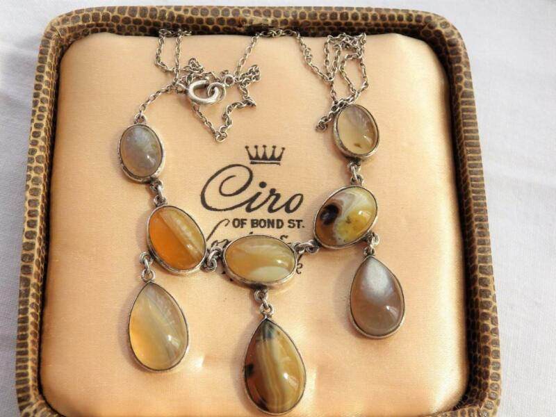 Vintage Victorian Scottish Silver Banded Agate Necklace cabochon Droppers