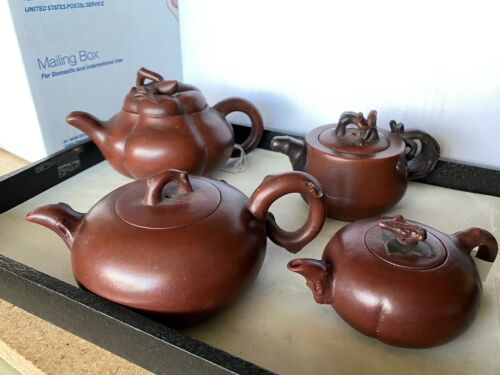 4 pcs Yixing Pottery Teapot .  Te21-39, TE21-23, TE23-86, TE23-23