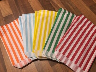 100 - STRIPED CANDY PAPER BAGS FOR SWEET FAVOUR BUFFET WEDDING CAKE GIFT SHOP](Candy Favor Bags For Candy Buffet)