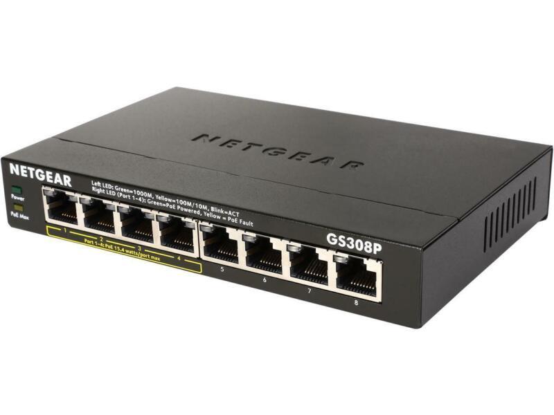 NETGEAR 8-Port Gigabit Ethernet Switch with 4-Port PoE (GS308P)