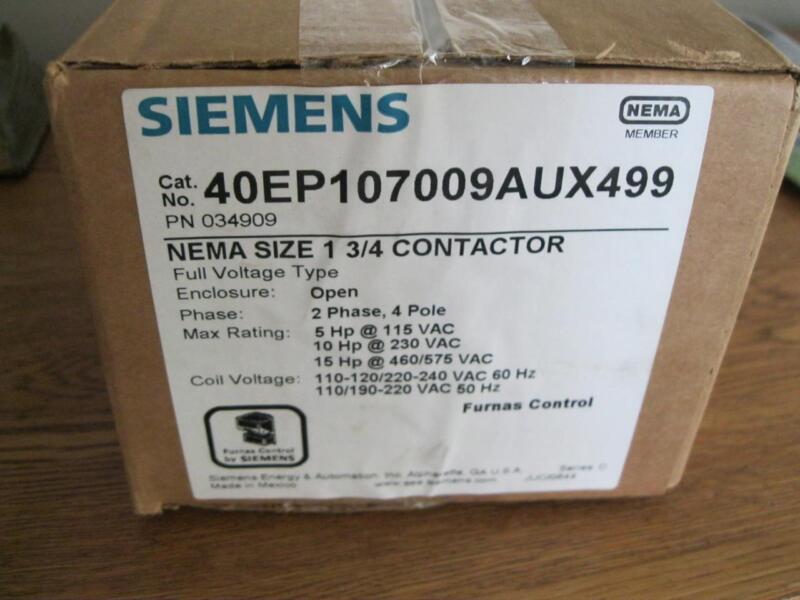 Siemens Furnas Miller 40EP107009AUX499 NEMA 1 3/4 CONTACTOR 4Pole  110-240V Coil