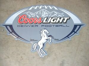 DENVER BRONCOS & COORS LIGHT NFL Football Metal Tin Wall Sign Man Cave Bar