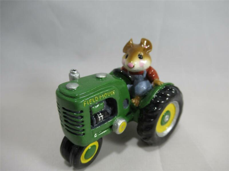 Wee Forest Folk Field Mouse Green Tractor - Retired in WFF Box