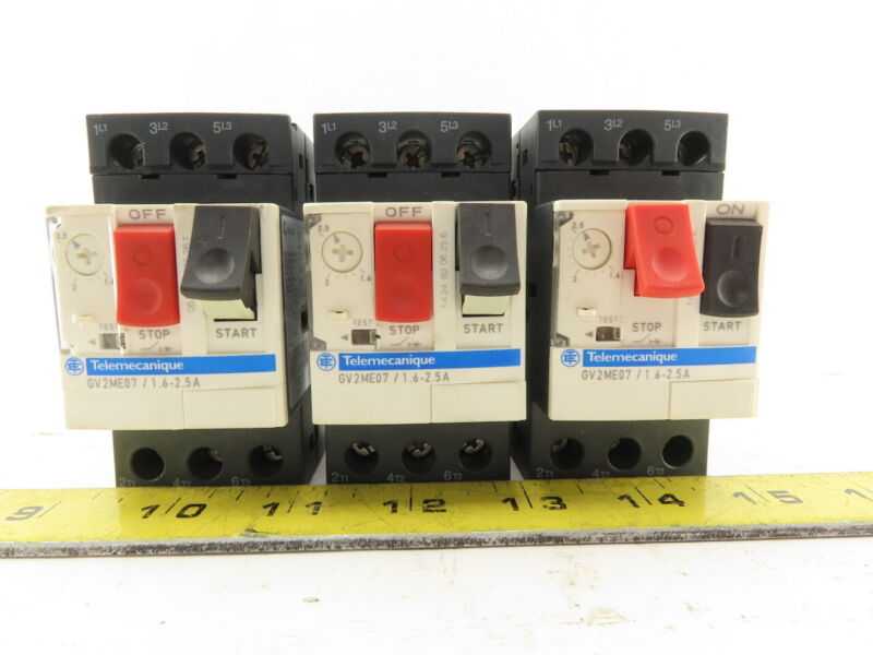 Schneider Electric Telemecanique GV2ME07/1.6-2.5A Manual Motor Starter Lot of 3