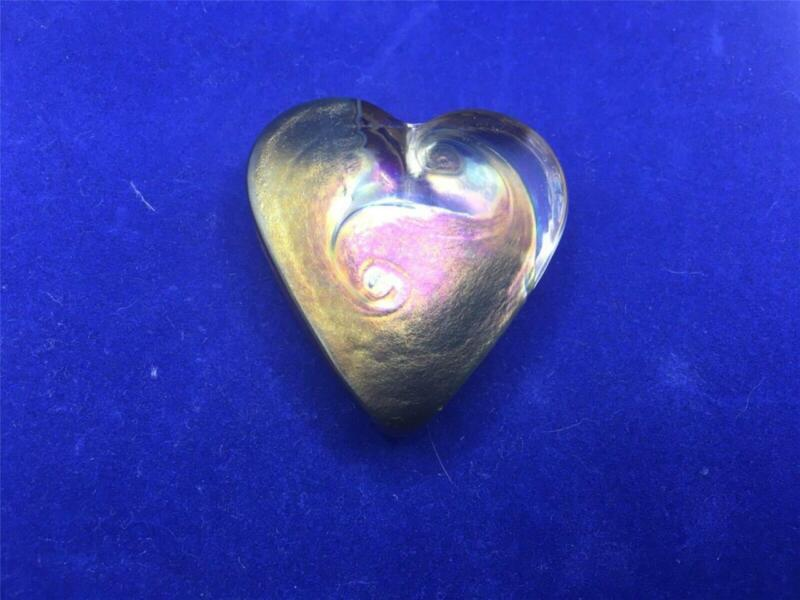 Vintage Signed Robert Held Art Glass Heart Shaped Paperweight VGC Original Stick