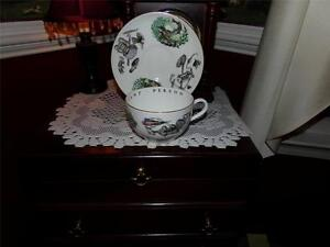 ROYAL-WORCESTER-ENGLAND-OVER-SIZED-FISHING-THEME-TEA-CUP-SAUCER-RARE