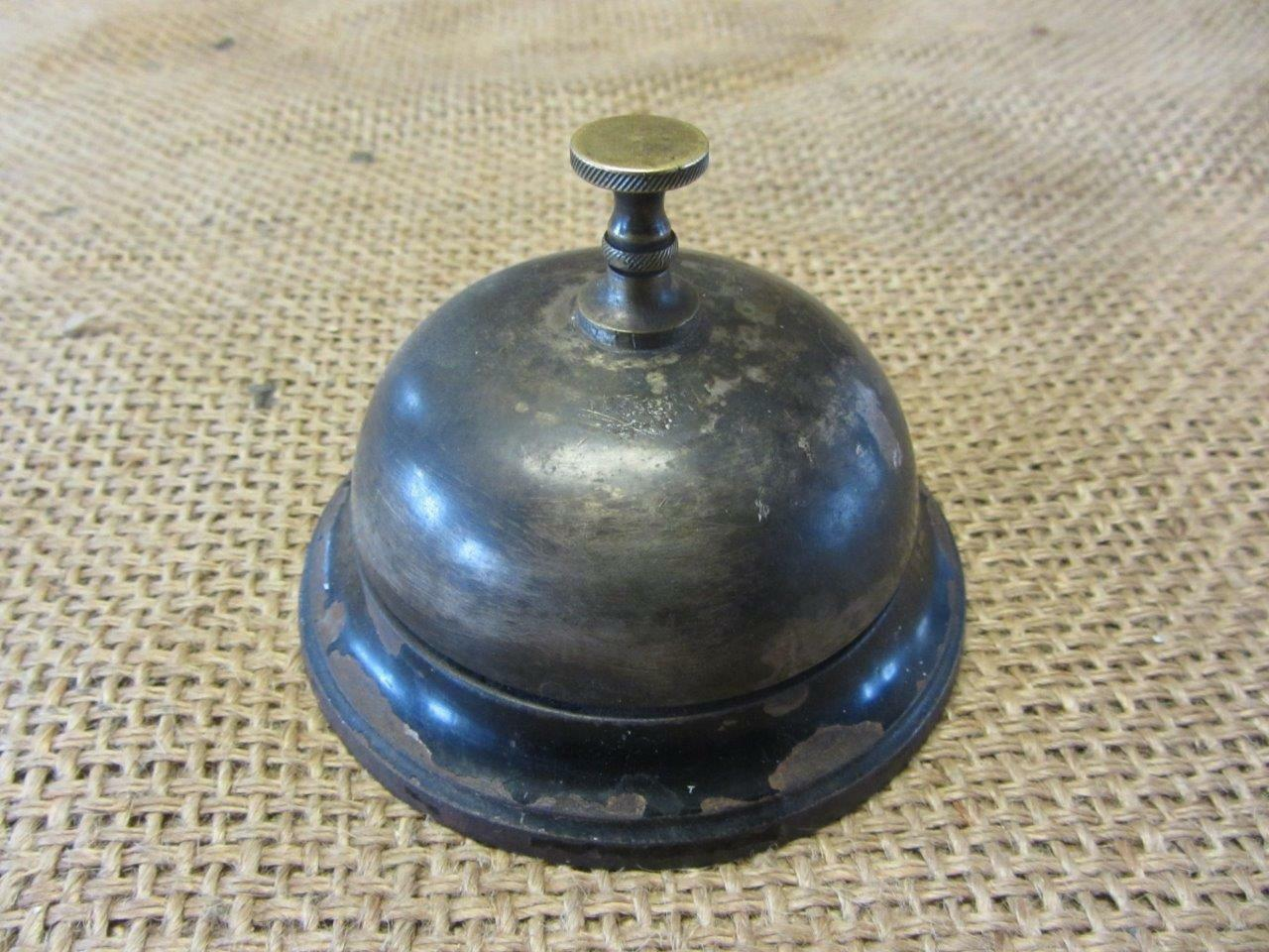 Vintage 1887 Spinner Cast Iron Brass Desk Bell Antique Hotel Bells 9518