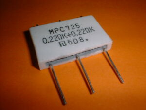 4x 0,22+0,22 Ohm Metallband Widerstand 5+5 Watt MPC725