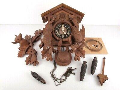 Vintage Wooden Cuckoo Clock German Regula Deer Rabbit Bird Horn Parts or Repair