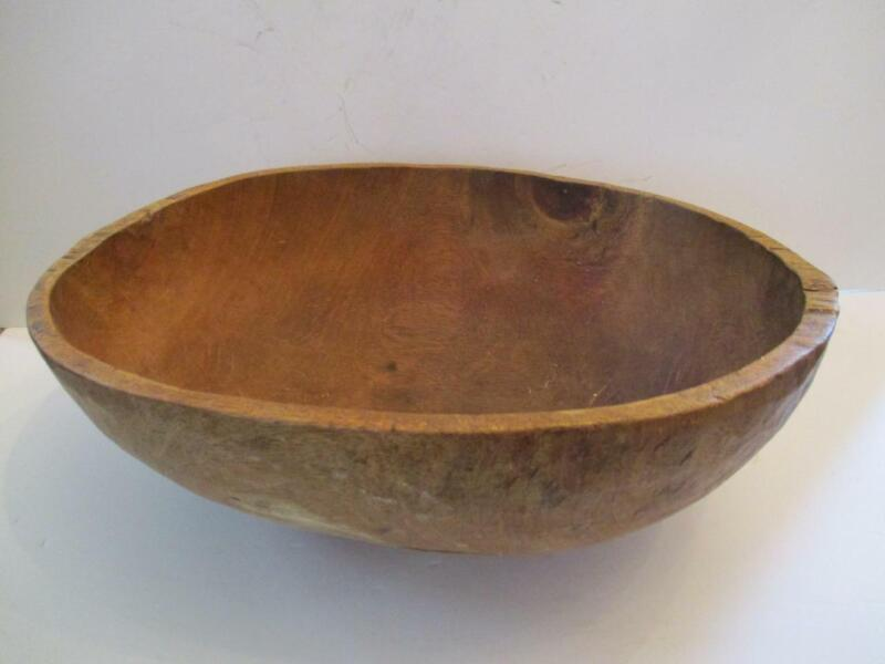 Antique Hand Carved Oval Dough Bowl