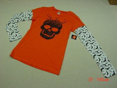 NWT Junior Womens Unique Layered Look Halloween Shirt Skull Orange Bats Glitter - Unique Halloween Shirts