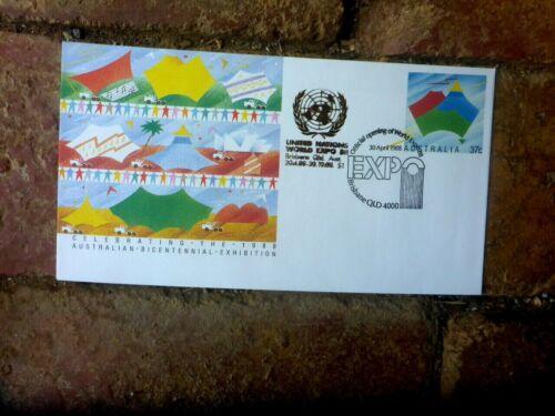 UNITED NATIONS  PAVILION WORLD  EXPO 88 GOLD CACHET ON PSE