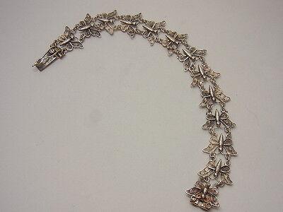 Jugendstil Dragonfly Filigran  Schmetterling Armband Bracelet Silber 20 cm Nr.25
