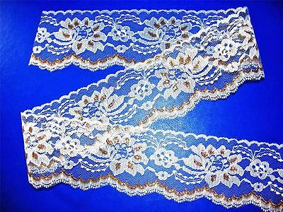 (GOLD on WHITE~3 Inch Wide Floral Flat Lace Trim~By 5 Yards)
