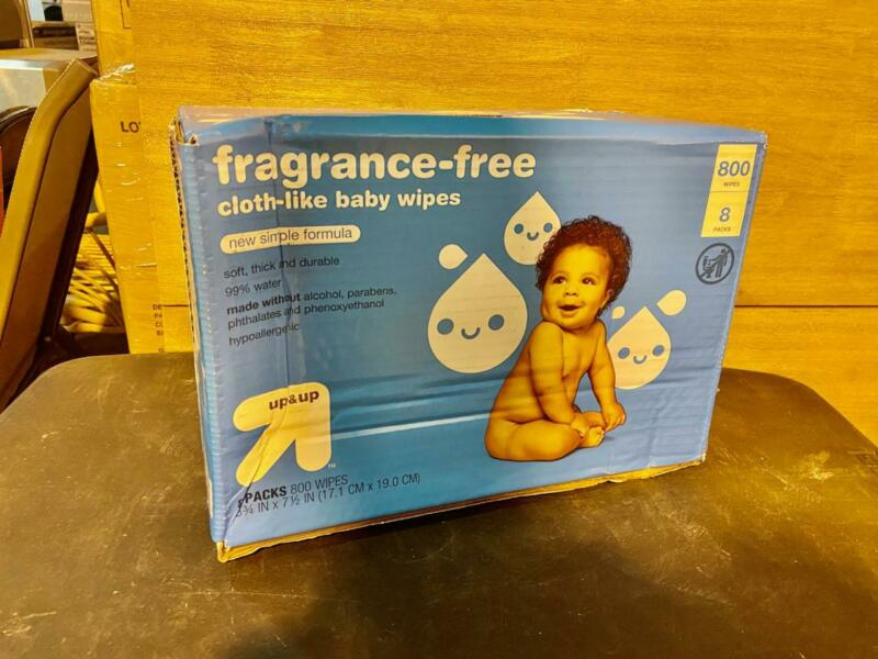 New Up&UP Fragrance Free Cloth like Baby Wipes Uncentented 800 ct.