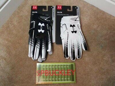UA UNDER ARMOUR F6 ADULT RECEIVER FOOTBALL GLOVES, 1304694, NWT, SFIA Adult Football Gloves