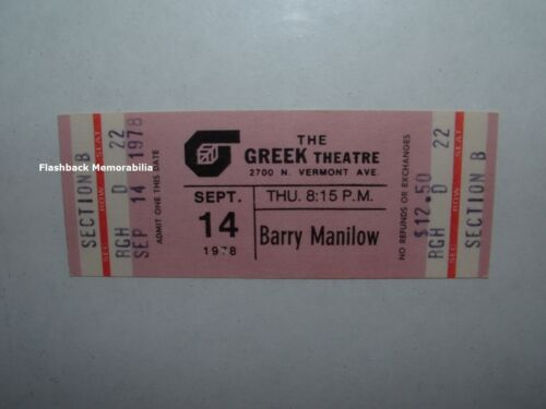 BARRY MANILOW Unused Concert Ticket SEPT 14 1978 UC Berkeley GREEK THEATRE Rare