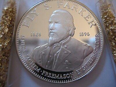 7/8-OZ RARE ELY S PARKER FREEMASON BROTHERHOOD MASONIC COIN SILVER.925 + GOLD