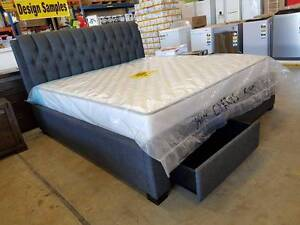 NEW IN BOXES! KING size grey upholstered bed frame with 2 drawers Springwood Logan Area Preview
