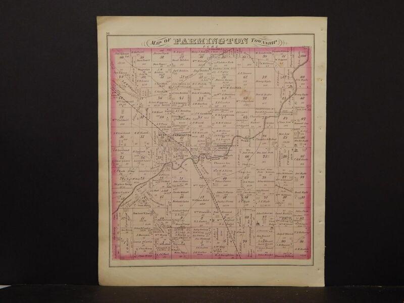Ohio, Trumbel County Map, 1874 Township of Farmington K4#25