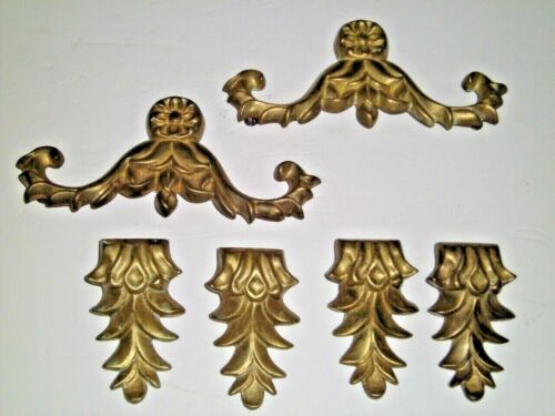 Vtg Appliques Heavy Solid Brass 2 Garland/4 Acanthus Leaves Hollywood Regency