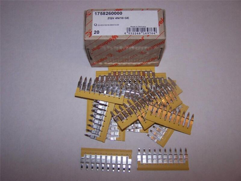 WEIDMULLER 1758260000 TERMINAL JUMPER BARS ZQV 4N/10 GE LOT OF 20 NEW IN BOX
