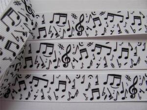 BB Ribbon MUSIC NOTES black  1m grosgrain 1