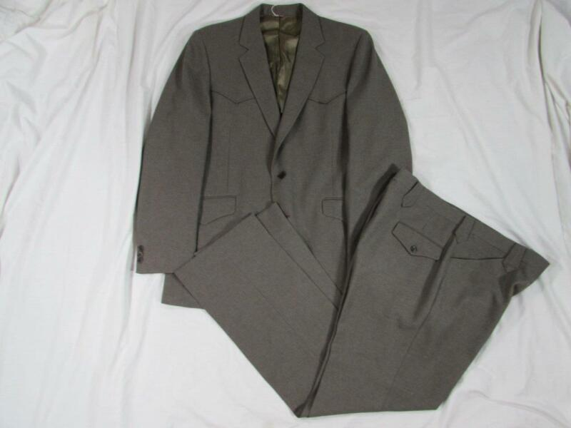 Vtg 60s 2 Pc Manchester Western Suit Jacket & Pants Rockabilly Scovill Zip 70s