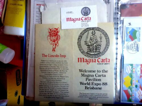 WORLD EXPO 88 MAGNA CARTA PAVILION  BROCHURE  AND  BUSINESS CARD